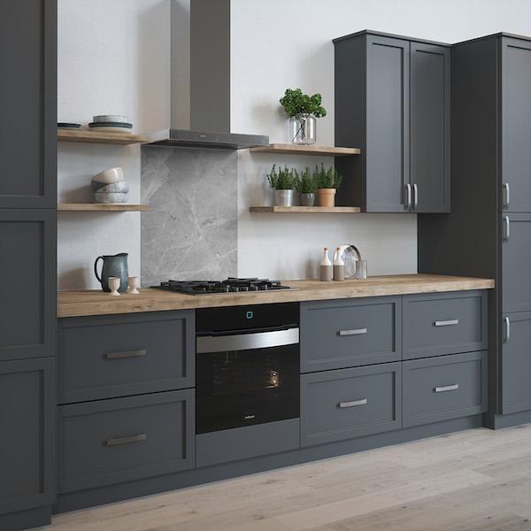 House Beautiful Pietra Grey Glass Kitchen Splashback 900mm x 750mm - Full Size Sample