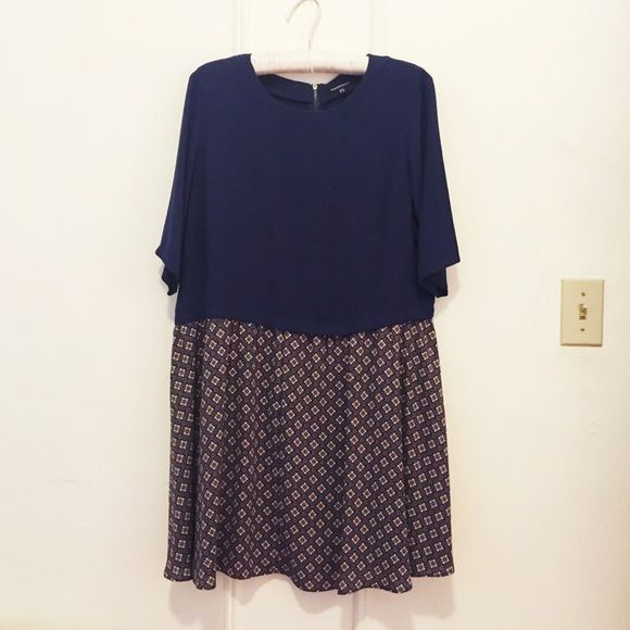 [asos] // smock dress NWT. asos smock dress - navy blue top with printed skirt. such a fun dress that's can be worn during all seasons. just a tad too tight for me, which I'm so bummed about. US size 12 ASOS Dresses