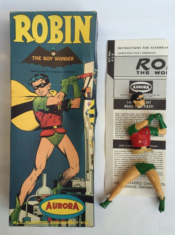 Original 1966 Aurora Robin Model, Instruction Sheet And Empty Box