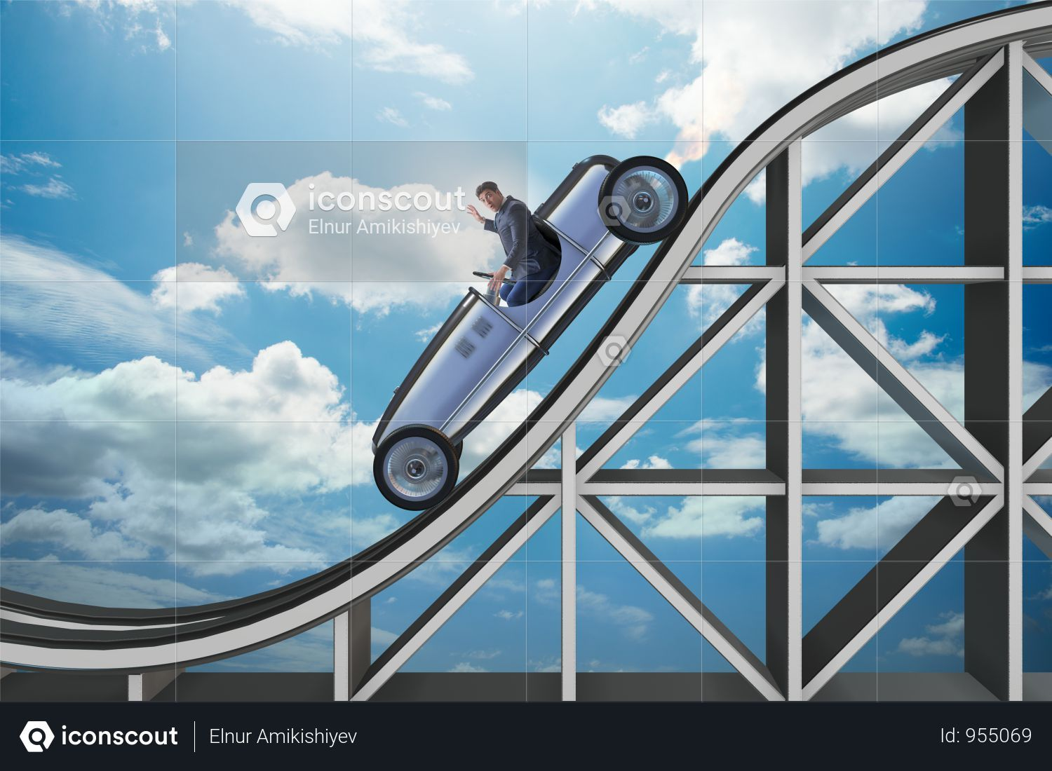 Businessman Driving Sports Car On Roller Coaster Photo Roller Coaster Sports Car Photo