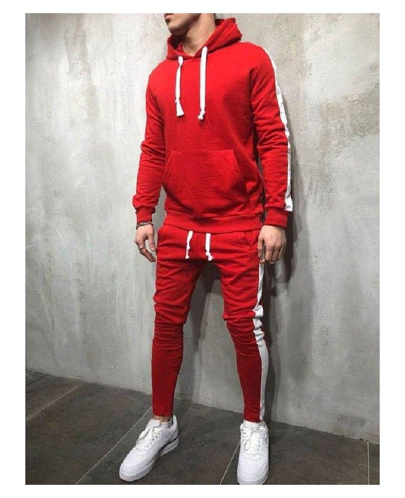Men/'s Tracksuit Set Hoodies Sweatshirt Pullover Joggers Pants Gym Casual Outwear