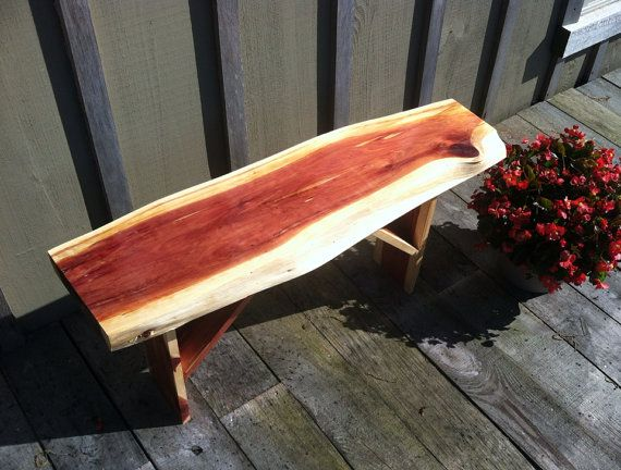 Beautiful cedar wood bench handmade on etsy for Beautiful wooden benches