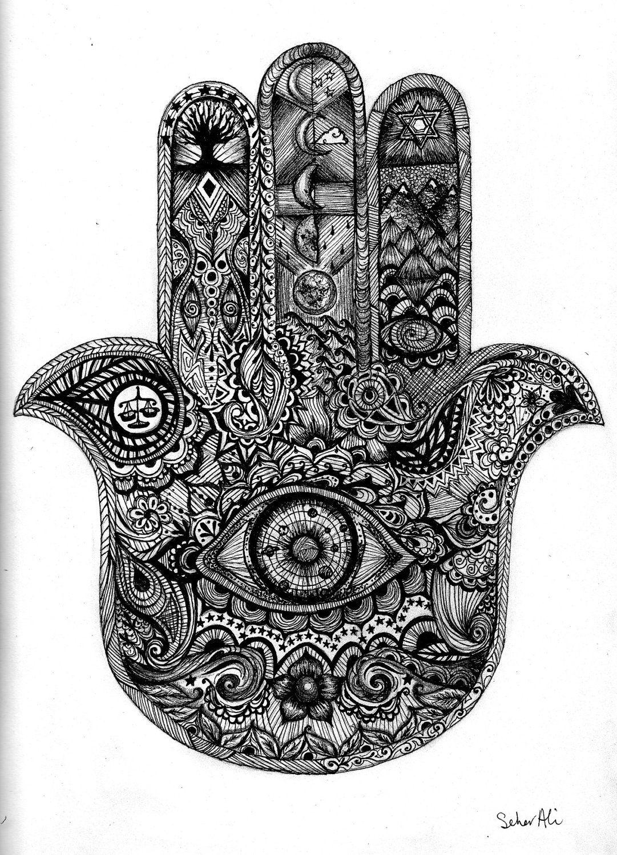 Intricate Hamsa Hand Eye Space Planets Mehndi Illustration ...