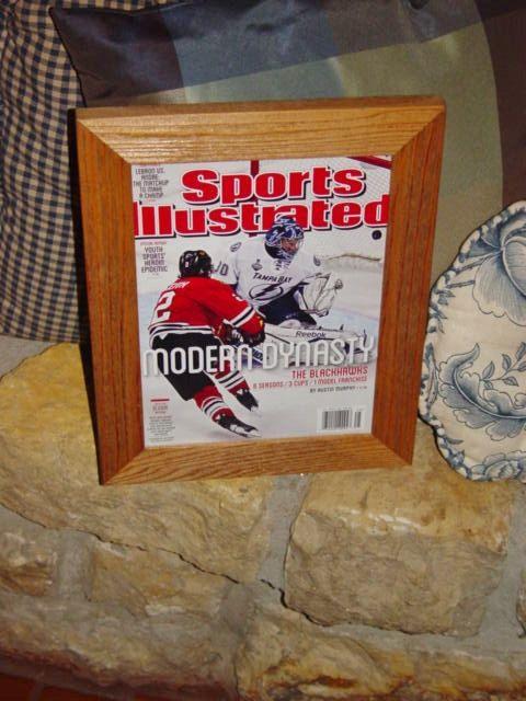 Chicago Blackhawks Sports Illustrated custom framed solid rustic cedar Stanley Cup Champions