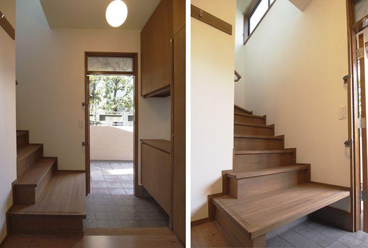 玄関兼階段室 高窓から採光を得た明るい玄関 階段の1段目はベンチ