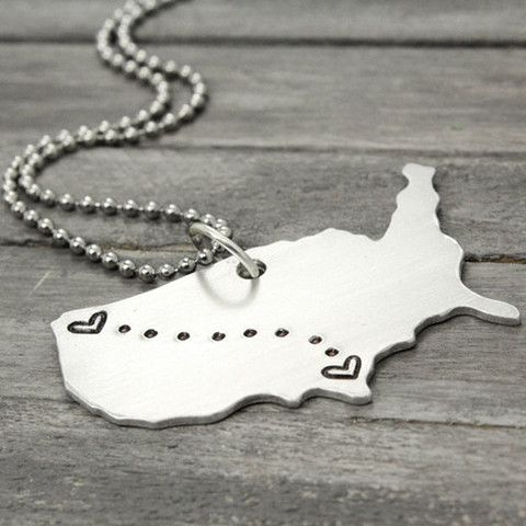 c720bafa88 Personalized with your choice of locations, these state to state Key Chain  make a charming gift for anyone who is away, but will always hold your heart .