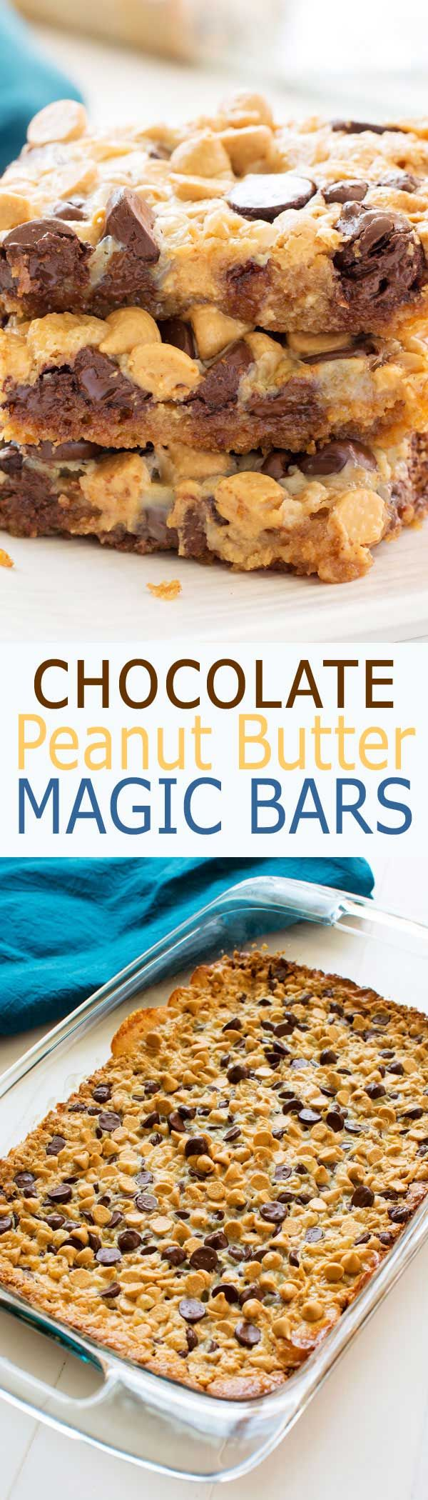Fudgy Chocolate Peanut Butter Magic bars with layers of chocolate chips, peanut butter chips and sweetened condensed milk on a graham cracker crust! #dessert #baking #recipe #dessertrecipes #recipeoftheday #recipeoftheweek #easter #partyfood #potluck #peanutbutter #chocolate #foodblog #food