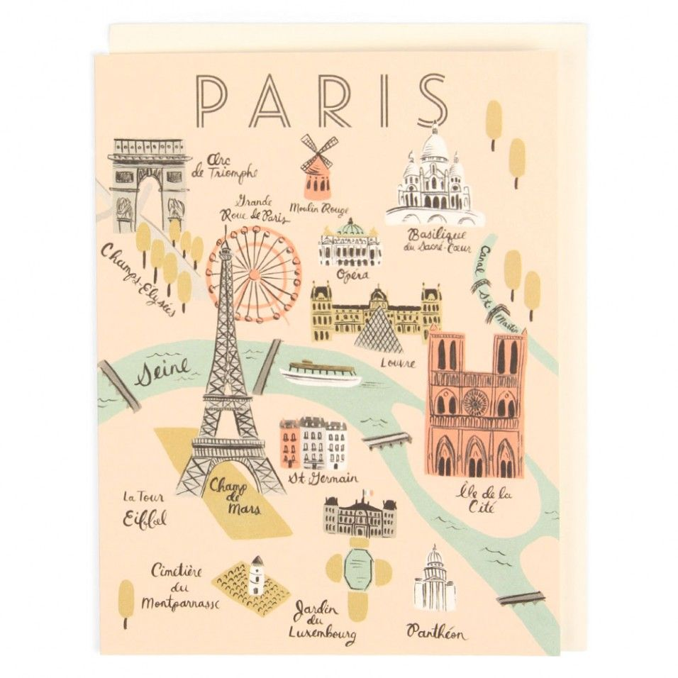 Carte Motif Monuments De Paris Illustrations Pinterest City - Paris map monuments