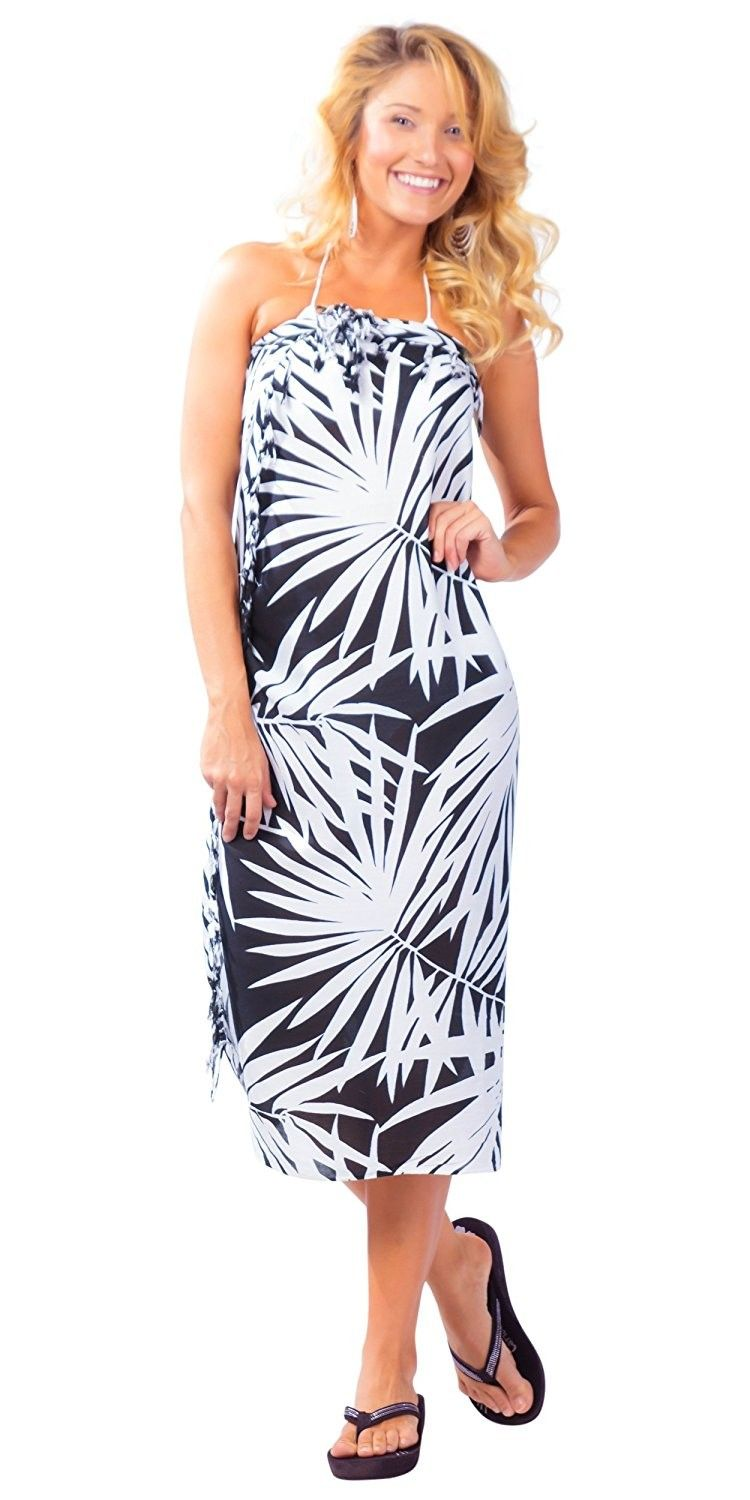 05f1d2d111 Womens Pareau Hawaiian Palm Tree Swimsuit Sarongs - Black White ...