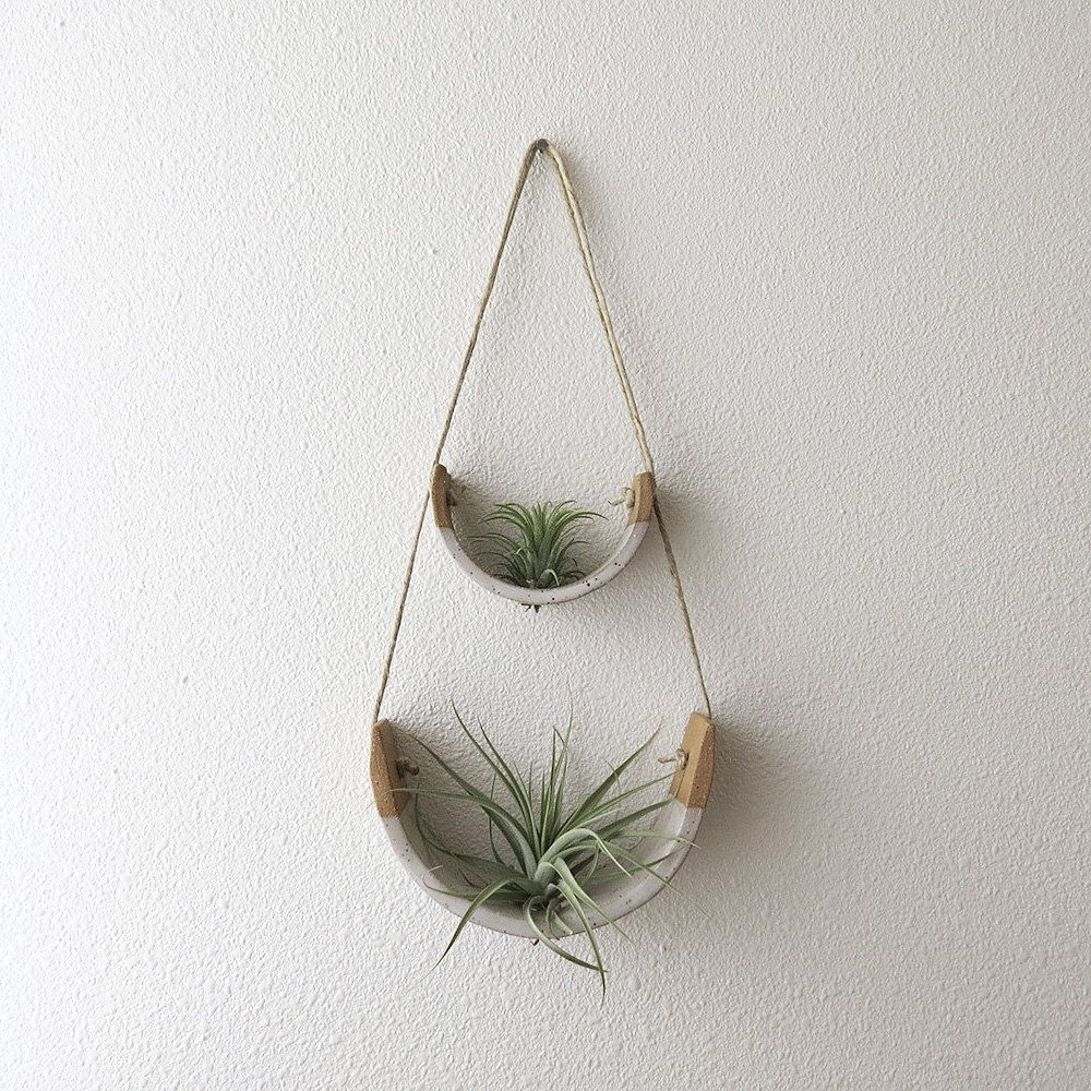 2 Tier Hanging Air Plant Holder Speckle Stoneware Planter Dipped In Gloss White Hanging Air Plants Plant Holders Air Plant Holder