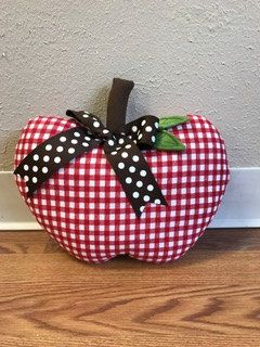 Apple pillow Red and White Check by Loveoffamilyandhome on Etsy