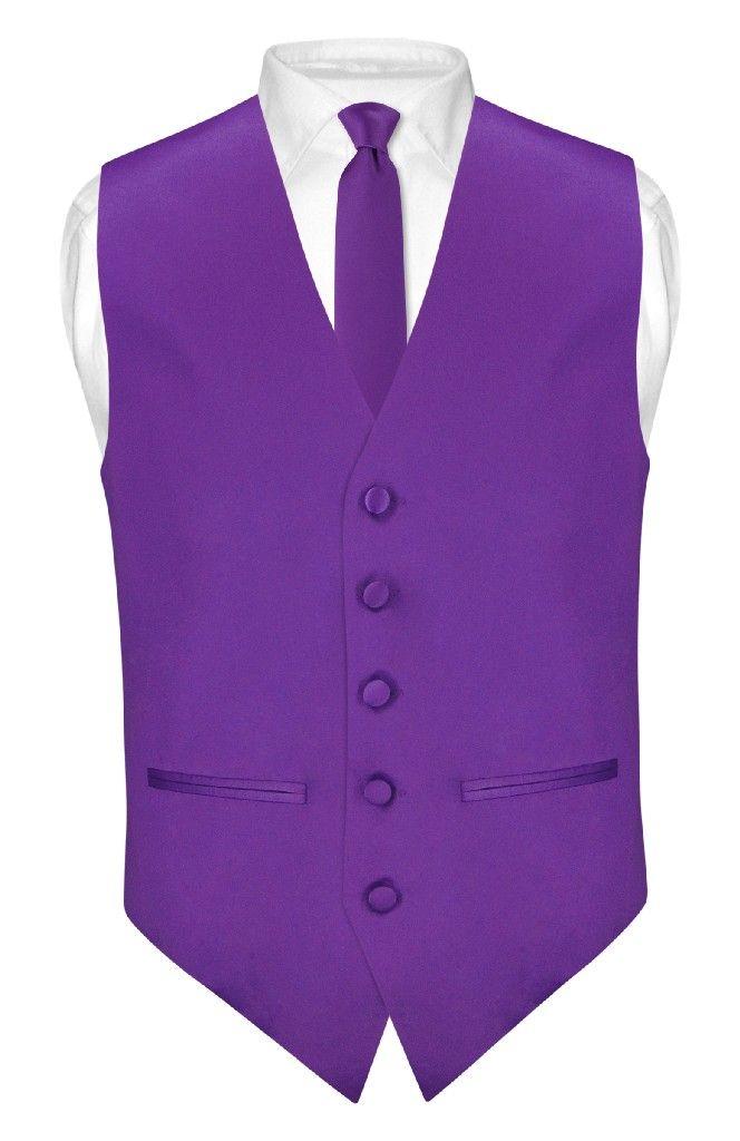Mens Dress Vest /& Skinny Necktie Solid Purple Indigo Color 2.5 Neck Tie Set