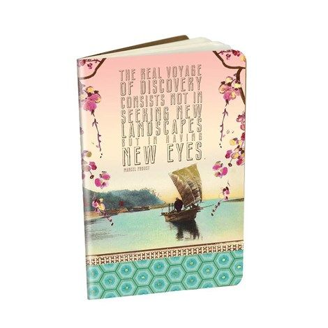 "Decorative Notebook 'Voyage' - 3.5"" x 5.5"" saddle sitched notebooks with gold foil embellishments and 32 lined pages. Minimum of 6 per style #966647 $5.99  www.lambertpaint.com"