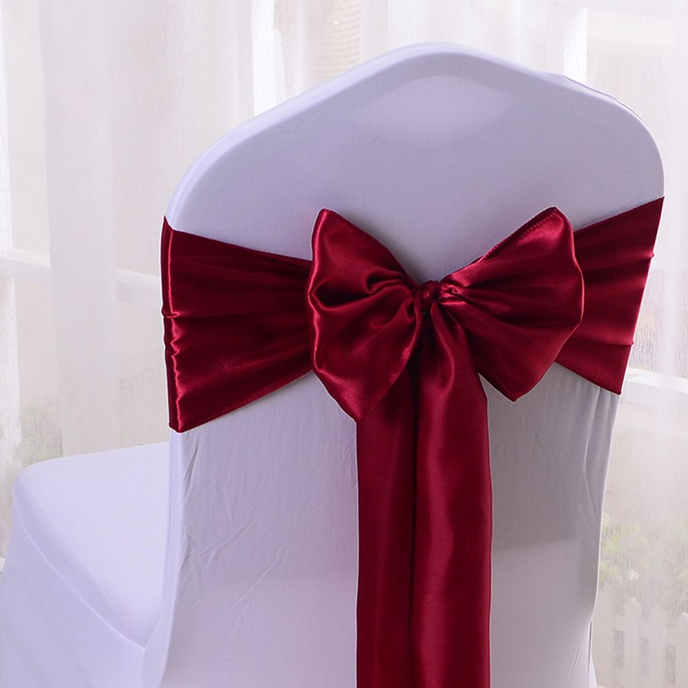 """Wholesales 30PCS Wine Red Satin Chair Bow Sashes Ribbon For Wedding Reception Banquet Decoration 6.7""""X 108"""" (17X275CM) SCS15302"""