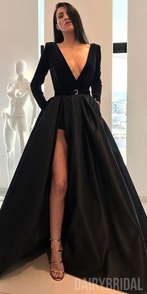 Black Vintage A-Line Velvet Satin Sexy Slit V-neck Long Sleeve Dresses, FC2179