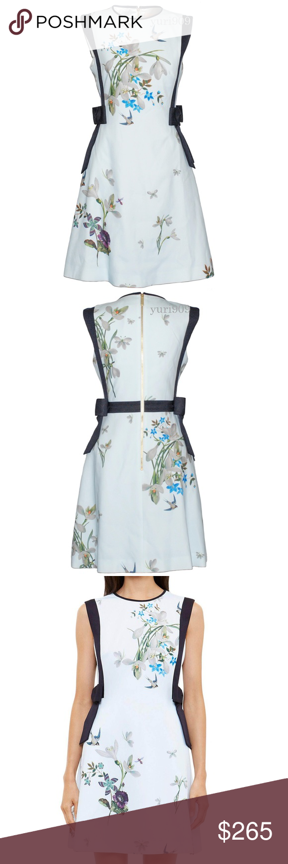 97dd808422e6c Ted Baker Sipnela Spring Meadow Bow Dress NWT Ted Baker London Light Green Sipnela  Spring Meadow