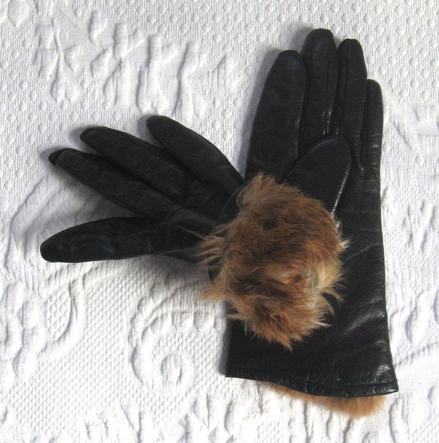Black leather gloves small - Black Leather Gloves Fur Lined Leather Gloves Size Small Rabbit Lined Gloves