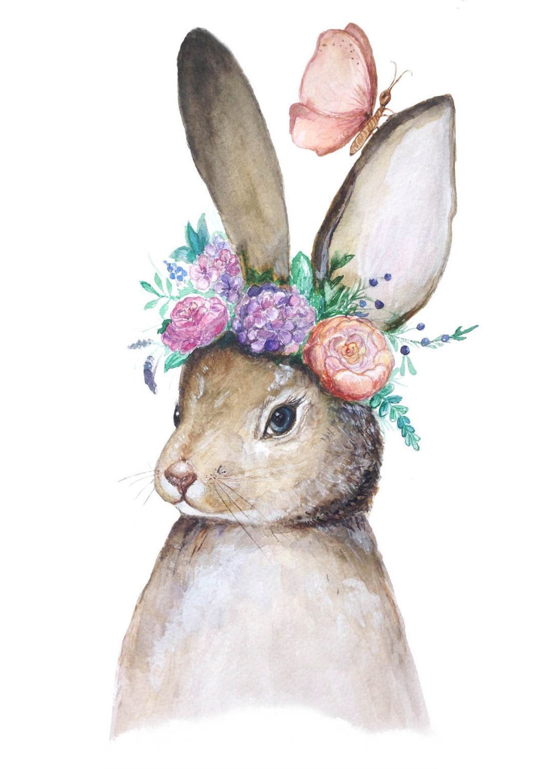 Objects Much Like Bunny With Flowers Authentic Watercolor