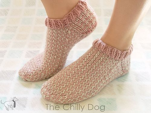I made this sweet pair of slipper socks with Lion Brand Vanna's Choice Yarn in dusty pink and linen. However, you can substitute just about any type of worsted weight yarn form your stash. It's a good project to use up some of your leftovers.