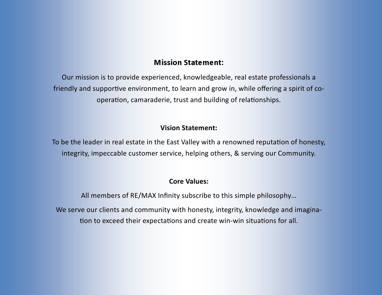 RE/MAX Infinity's Mission Statement, Vision Statement and