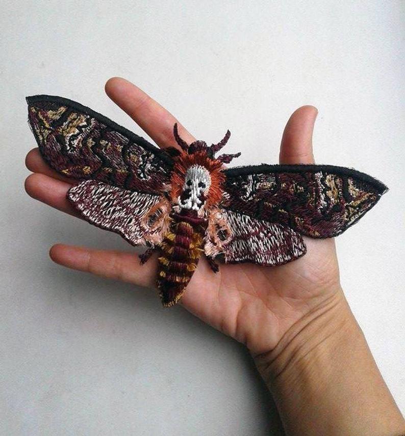Black Butterfly w//Acrylic Gem Embroidery Patch