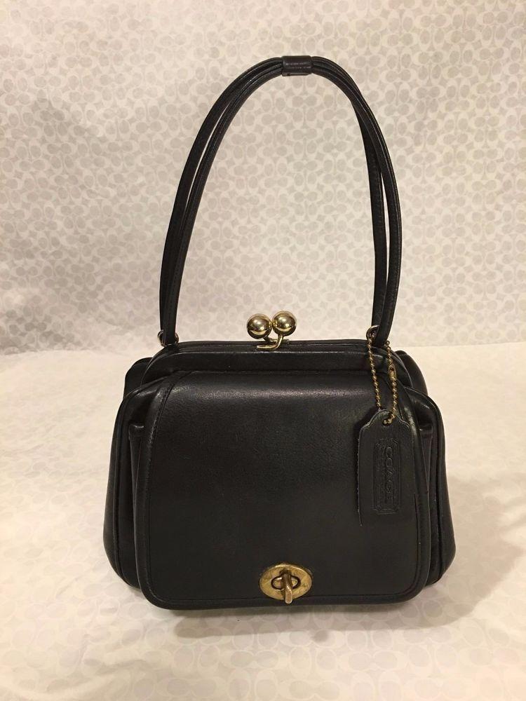 a3a79a06b2 Vintage COACH Black Cashin DOUBLE KISS LOCK c.1950 BAG Handbag EXTREMLY  RARE EXC  Coach  Vintage