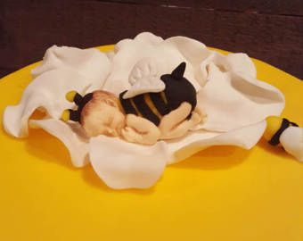 Baby Shower Ethnic Bumble Bee On A Yellow Rose Cake Topper