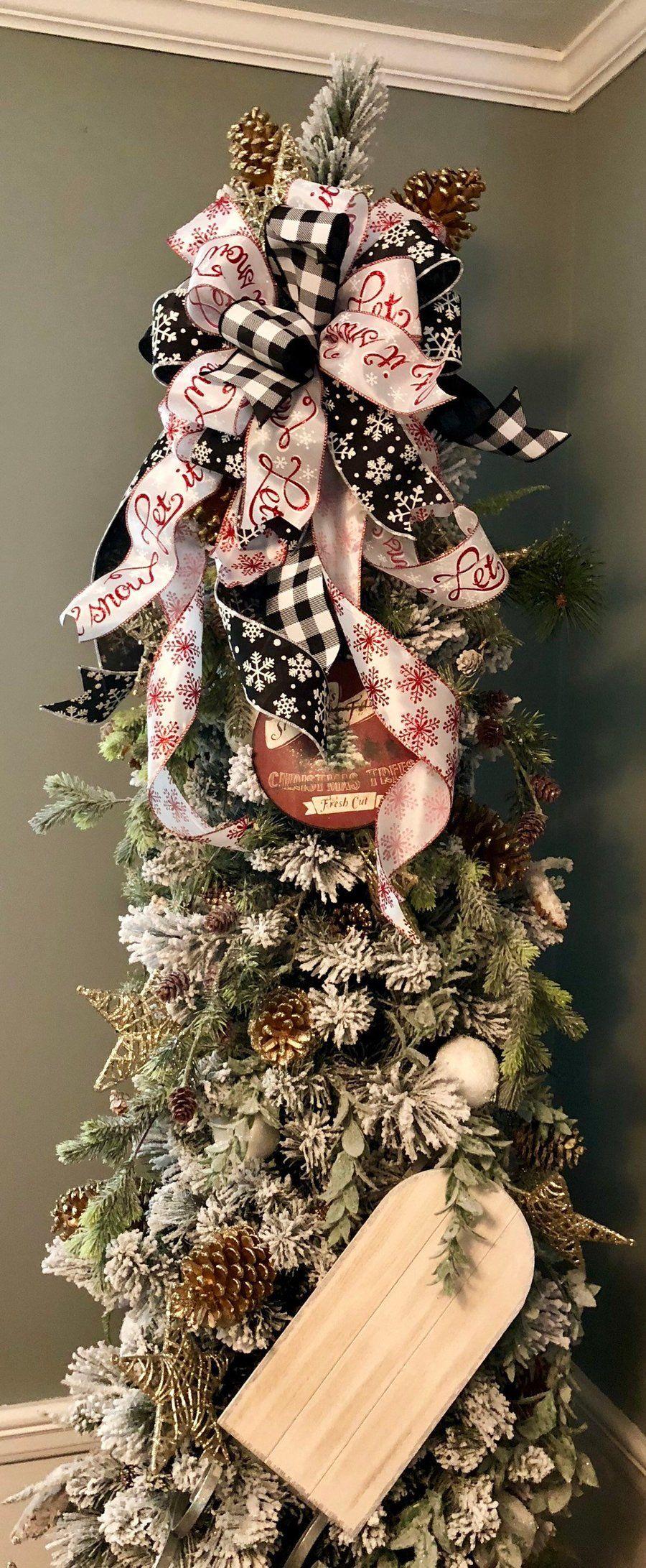 The Celine Red White & Black Christmas Tree Topper Bow