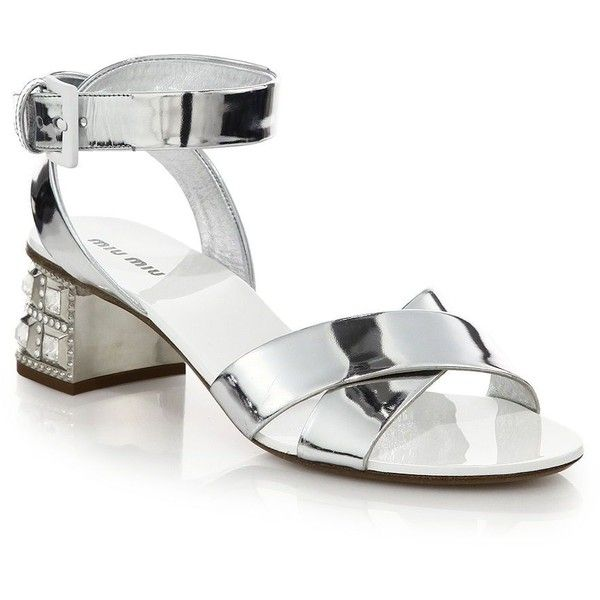 3915d2e366ce Miu Miu Jeweled-Heel Sandals ( 980) ❤ liked on Polyvore featuring shoes