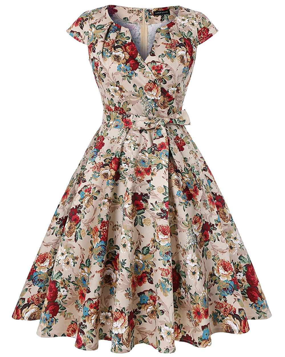 Mintlimit Women S Vintage 1950s Retro Cap Sleeves V Neck Rockabilly Swing Cocktail Dresses With Vintage Swing Dress Cocktail Dress Vintage 50s Fashion Dresses [ 1250 x 1000 Pixel ]