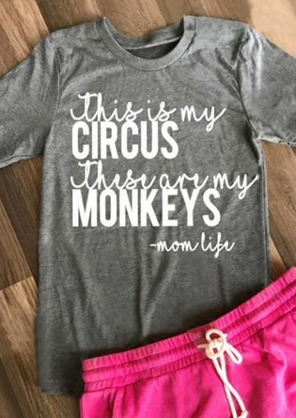 Circus & Monkeys Printed T-Shirt t shirt cutingshirt ideast shirtt shirt dressesilhouette designgrap