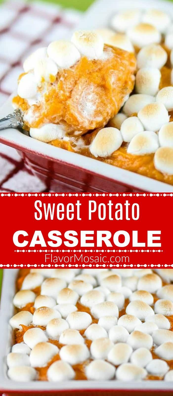 This Sweet Potato Casserole with Marshmallows, made with fresh sweet potatoes, has been a traditional Thanksgiving side dish in our family. #sweetpotatocasserolewithmarshmallows
