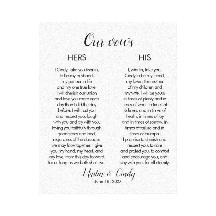 Wedding Vows Canvas Print | Zazzle.com -   19 ressional wedding Songs ideas