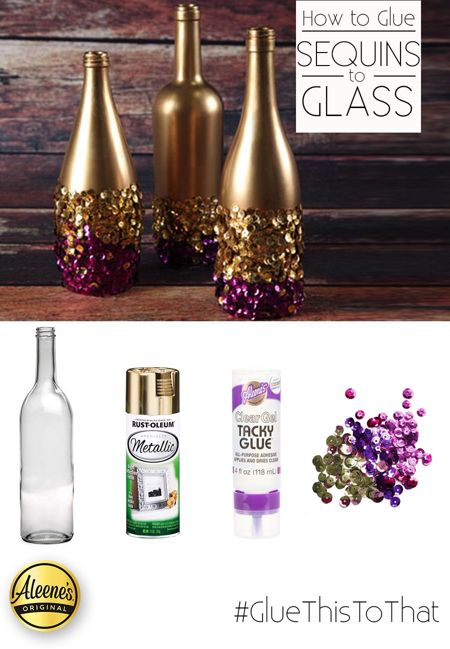 Glue Sequins To Glass Easily Using Aleene S Clear Gel Tacky Glue These Pretty Gold And Purple Bottles Were A Purple Bottle Glue Crafts Diy Bottles Decoration