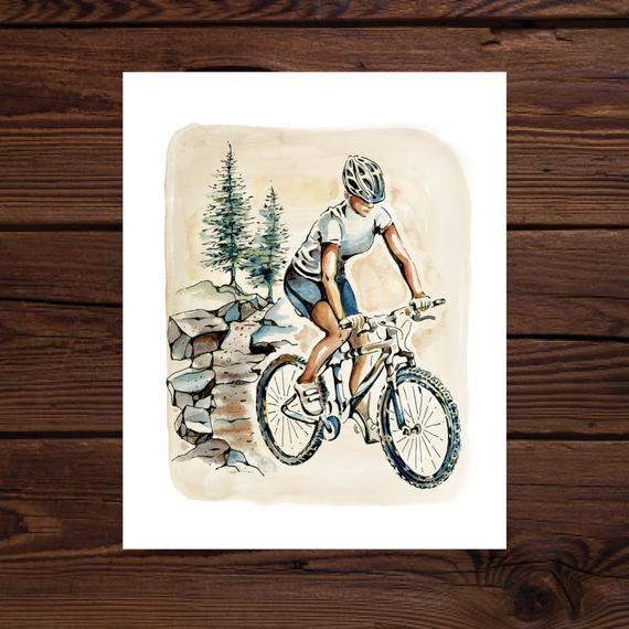 Mountain Biker Chick – Original Watercolor Art Print