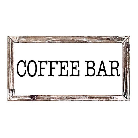 Photo of Coffee Bar Wood Sign 9×17″ | Large Farmhouse Sign, Coffee Bar Sign, Framed Wood …