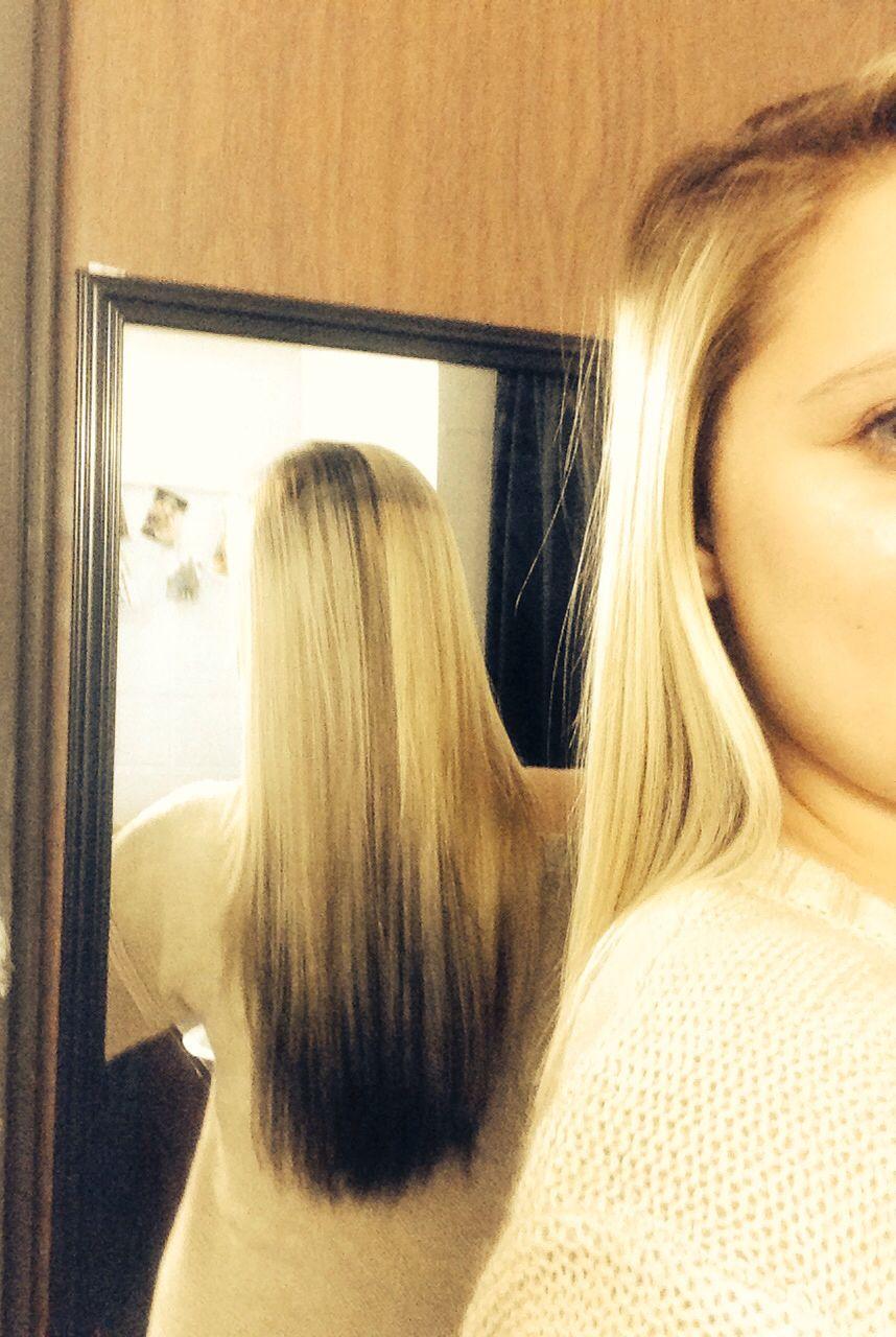 Brown hair with blonde under