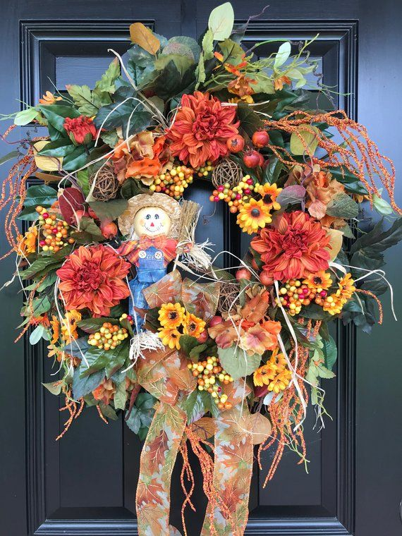 Photo of SCARECROW WREATH for Front Door, Front Door Wreath,  Grapevine Wreath, Fall Wreath, Natural Wreath, Halloween wreath, Fall Decoration
