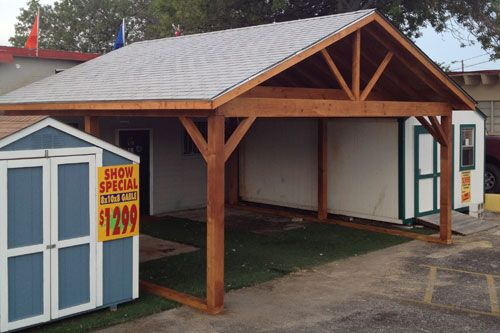 Post and joist gable roof carport pinterest wood for Gable carport prices