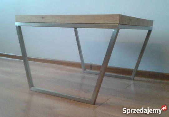 Stolik Kawowy Drewniany Metalowe Nogi Loft Poznań Wnętrze