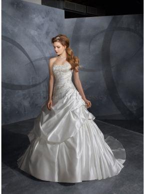 http://www.bridalgirldresses.ca/   ----    Strapless A-line Sleeveless White/Ivory Embroidery Satin Chapel Train Dress