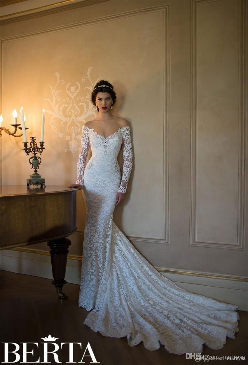 a667590d62237 Vintage Lace Berta Dresses Mermaid Wedding Gowns 2016 Long Sleeves ...