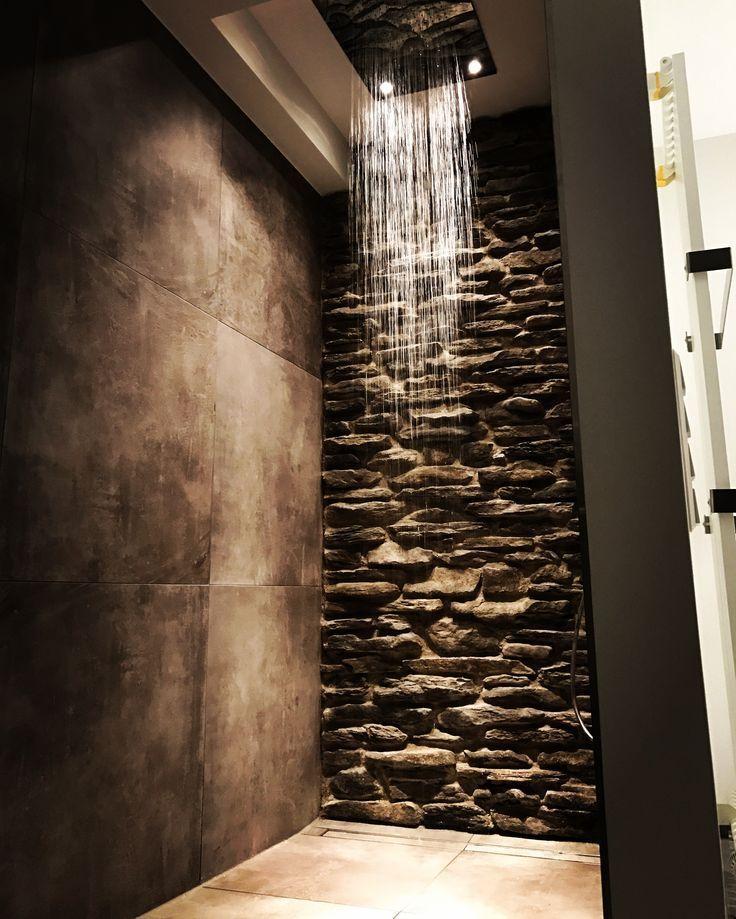 Photo of #bathroom #bathroom #natural stone wall #hansgrohe #rainmaker