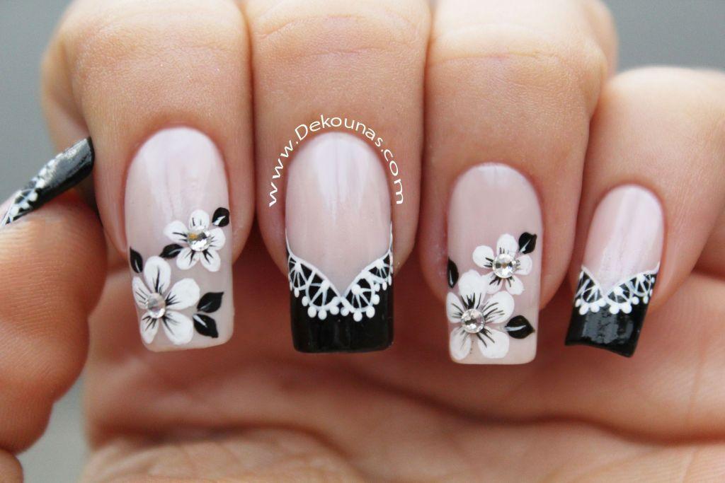 Decoración de uñas flores y encaje FACIL | Decoración de uñas ...