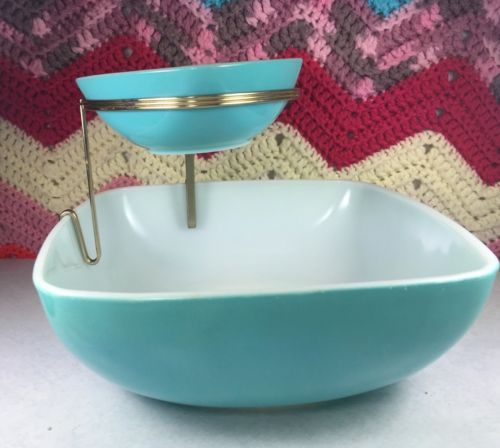 Vintage-Pyrex-Glass-Aqua-Turquoiuse-3-Pc-Chip-N-Dip-Serving-Bowl-Mid-Century-Set