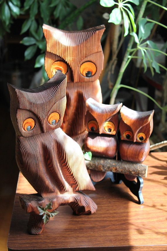 Set of 3 wooden owl hangings with felt eyes