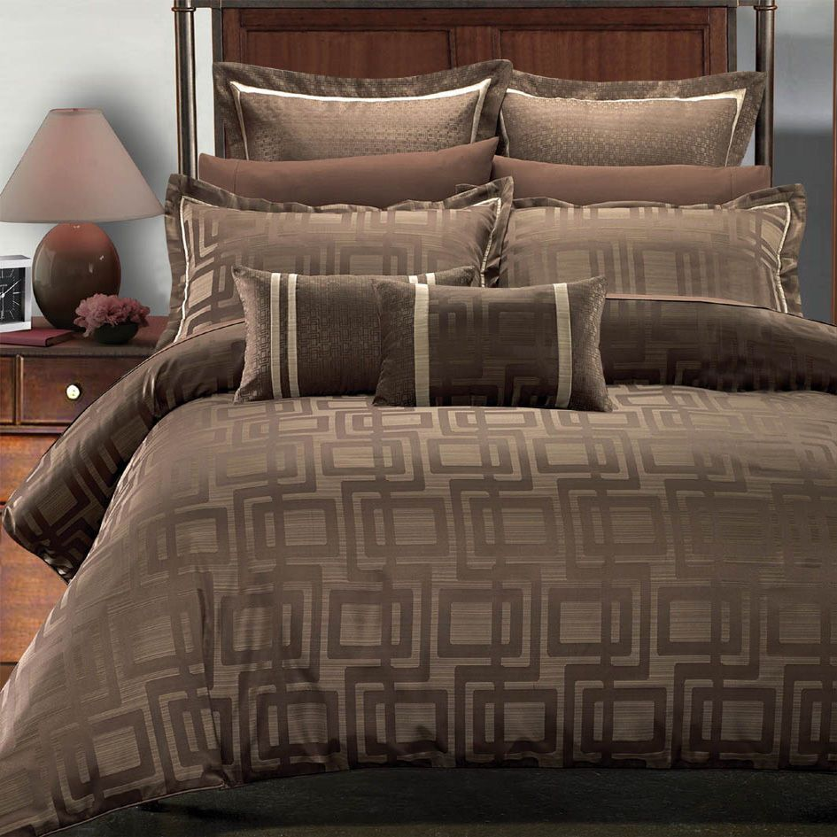 9pc Royal Hotel Janet Jacquard Brown Beige Duvet Cover Bed