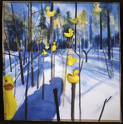 Taidekuvan tarkastelu - Petri Hytönen: Bongarin painajainen (2000). Jatkoa Kleen kuvan tutkimiselle... Tässäkin kuvassa on keltaisia lintuja. Maisema näyttää todelliselta kevättalven metsältä, mutta kuuluvatko linnut maisemaan? Miksi kuvan nimi on Bongarin painajainen? Onko tämäkin kuva uni?