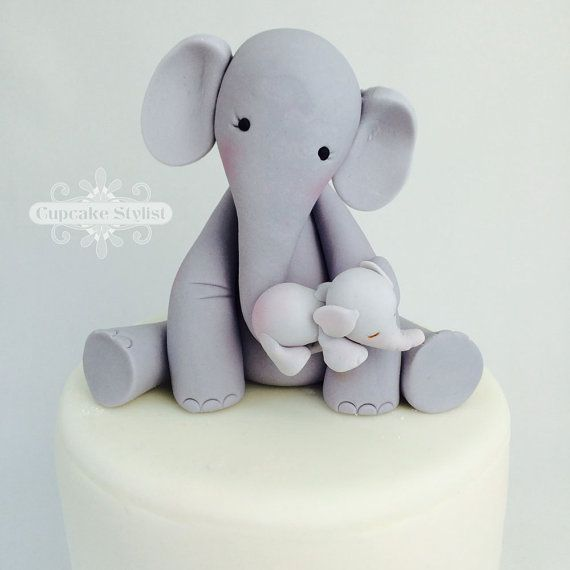 4 Fondant Mama and Baby Elephant Baby Shower Cake Topper by Cupcake