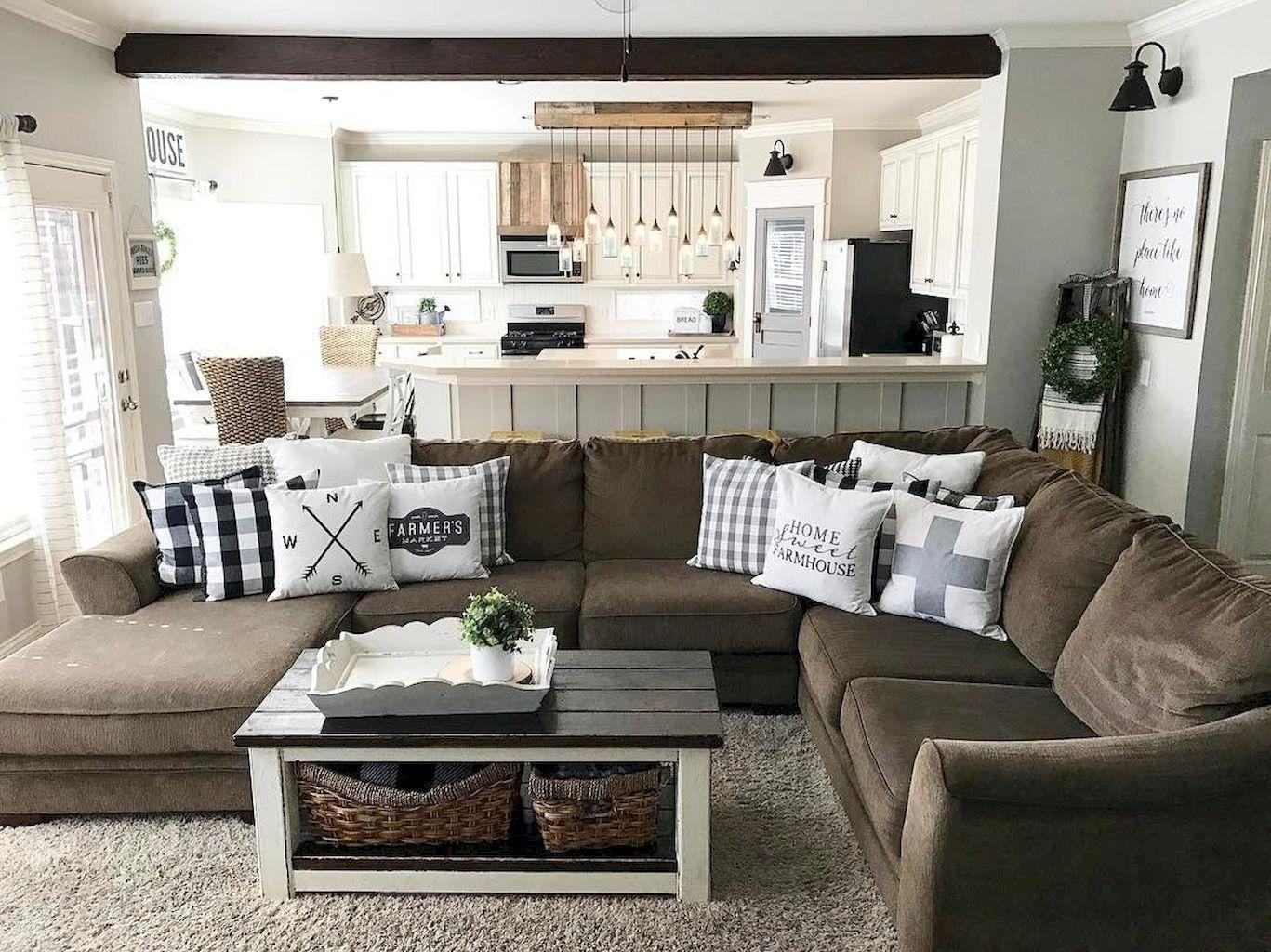 80 cozy farmhouse style living room decor ideas  brown